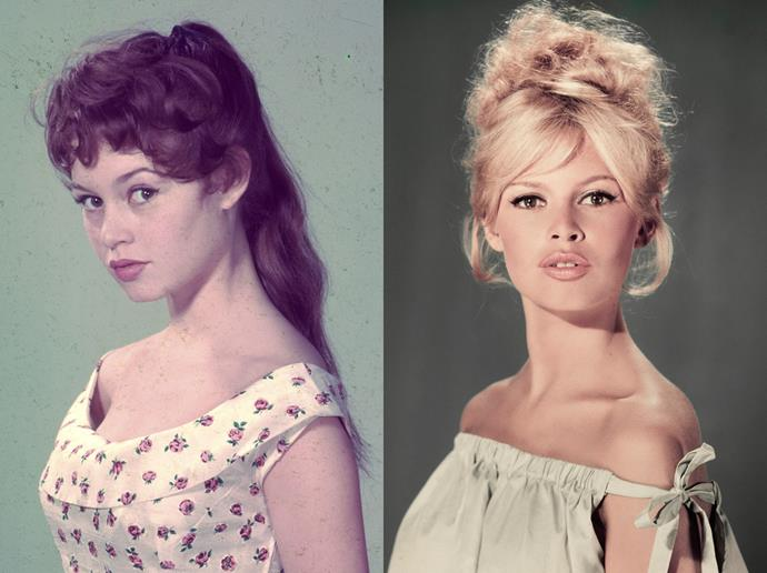 ***Brigette Bardot***<br><br> Though Brigette Bardot had a fringe since the beginning of her career, her iconic blonde 'do with the sweeping fringe didn't come about until around 1956 when she was cast in *Mio Figlio Nerone* and was asked to dye her hair.