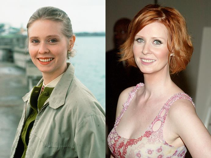 ***Cynthia Nixon***<br><br> Famous for her red hair on *Sex and the City*, a lot of people were surprised to hear that Cynthia Nixon is not a natural redhead. Nixon kept the red for several roles, after it kick-started her career in 1998.