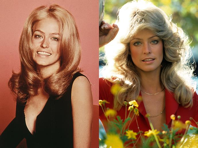 "***Farrah Fawcett***<br><br> Known for her iconic hair, Farrah Fawcett turned a corner in her career when she flicked out her blonde curls for *Charlie's Angels*. The style became known as the ""Farrah hair"" or ""Farrah-flip""."