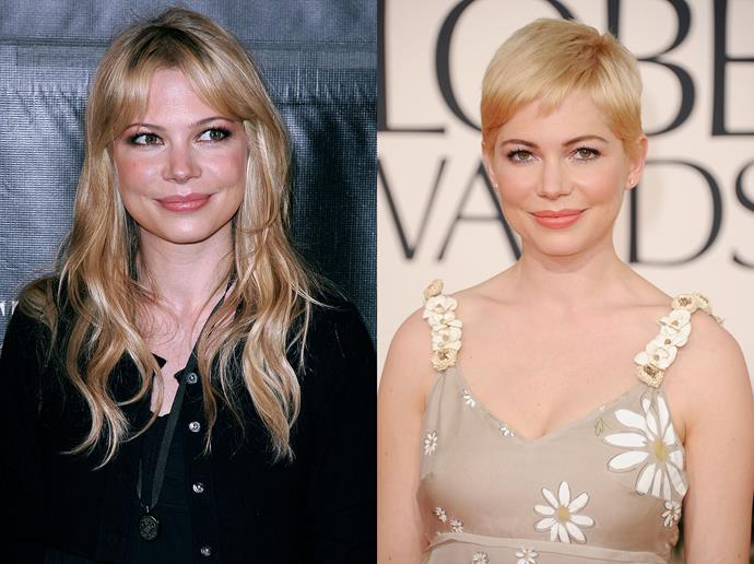 "***Michelle Williams***<br><br> In 2010, Michelle Williams cut off her mid-length blonde curls in favour of a bleach-blonde pixie cut.<br><br> She explained to *ELLE US* at the time, that she had cut it for her late fiancé, Heath Ledger: ""I cut it for the one straight man who has ever liked short hair and I wear it in memorial of somebody who really loved it.""<br><br> In the eight years since, Williams has kept her hair short and blonde, including in roles like *My Week With Marilyn*, *Manchester by the Sea* and *All The Money In The World*."