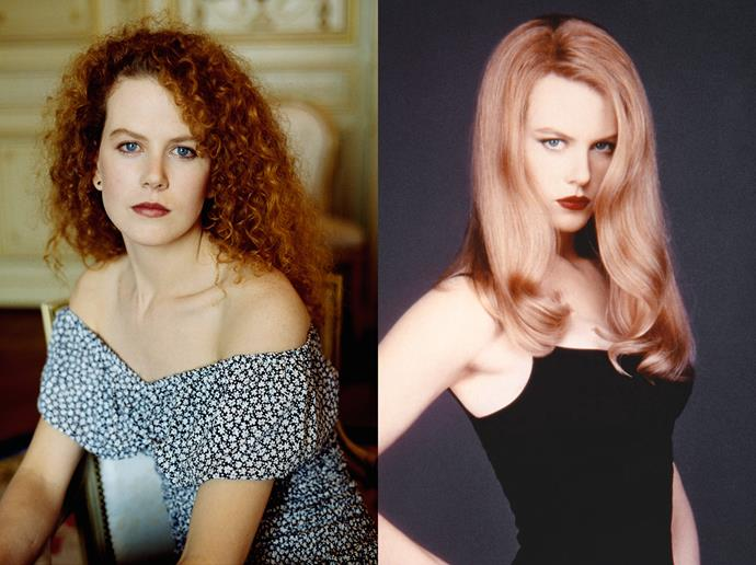 ***Nicole Kidman***<br><br> Fresh out of *BMX Bandits*, Nicole Kidman burst onto the scene with her wild, curly red hair. The actress scored some fun roles, but things definitely changed when she straightened and smoothed out her hair in the early '90s. Her new slick red hair was made famous in roles like *Practical Magic* and *Moulin Rouge!*