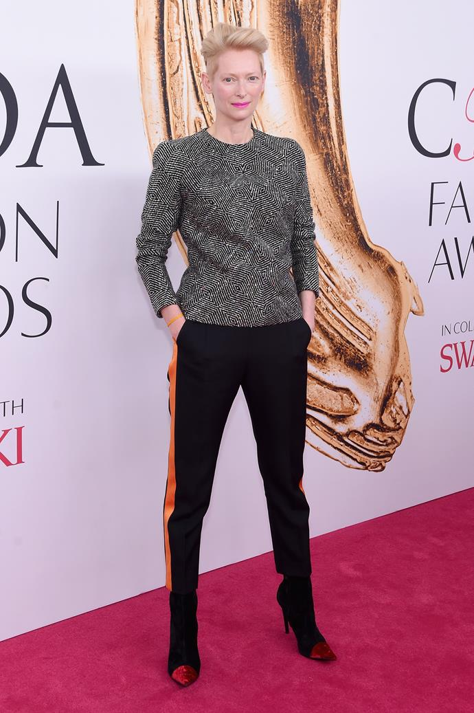 "***Tilda Swinton***<bR><br> Whether she's in a sweeping Haider Ackermann suit or a Chanel dress, Tilda Swinton doesn't let anyone influence her style. The actress has been styling herself for years. She told stylist.com: ""You mean there's somebody in your hotel room who actually takes your clothes out of a suitcase and lays them out for you.""<bR><br> ""Really? Or is that just a fantasy. There is nobody in my suitcase, but myself, I can tell you that."""