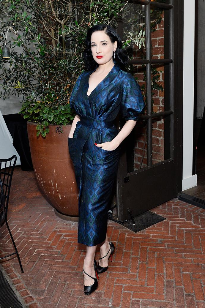 "***Dita von Teese***<br><br> Mixing vintage pieces with high-end designers, Dita von Teese explained to *Stylist* in 2011 that she chooses to forgo the 'entourage': ""The only modern celebrity I can think of to say I could admire is Diane Kruger, because she doesn't use a stylist. She's like me, we go choose our clothes ourselves, without an entourage."""