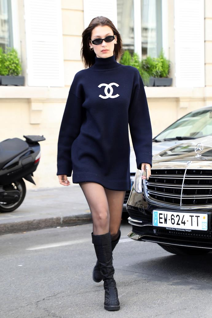 """In Paris, wearing a vintage Chanel sweater dress and Jordan Askill x Le Specs sunglasses (available [here](https://lespecs.com/petit-panth-re-1823826-navy-tan-mono-lsl1823826 target=""""_blank"""" rel=""""nofollow""""), $129), May 2nd 2018."""