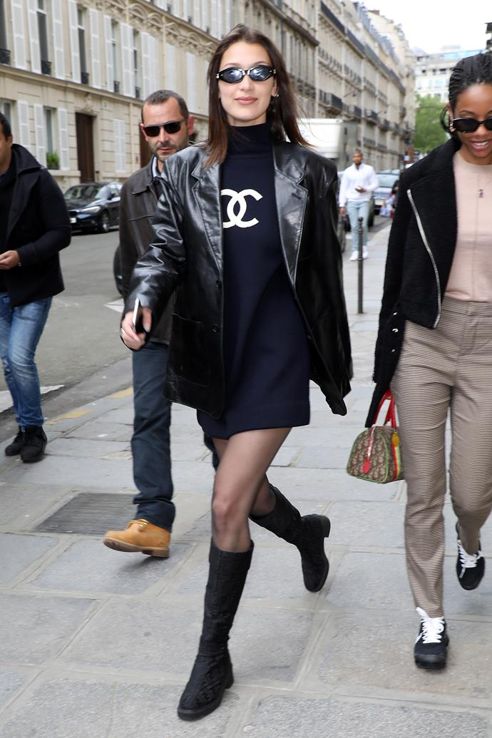 """In Paris, wearing a vintage Chanel sweater dress, leather jacket and Jordan Askill x Le Specs sunglasses (available [here](https://lespecs.com/petit-panth-re-1823826-navy-tan-mono-lsl1823826 target=""""_blank"""" rel=""""nofollow""""), $129), May 2nd 2018."""
