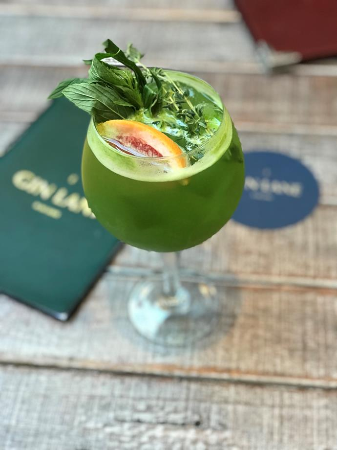 """**Superfood G+T:** Made with Irish gunpowder gin, dill infused green chartreuse, press kale/celery/cucumber juice, quinoa syrup, lemon, and is available at [Gin Lane](https://ginlanesydney.com.au/