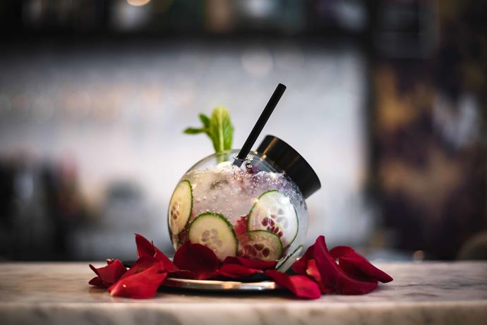 """**Rose + Cucumber Snow Dome G&T:** Made with cucumber and rose macerated gin, fever tree mediterranean tonic and bitter lemon, and is available at [Gin Lane](https://ginlanesydney.com.au/