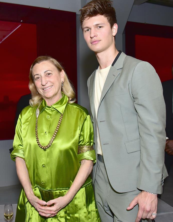 Miuccia Prada and Ansel Elgort