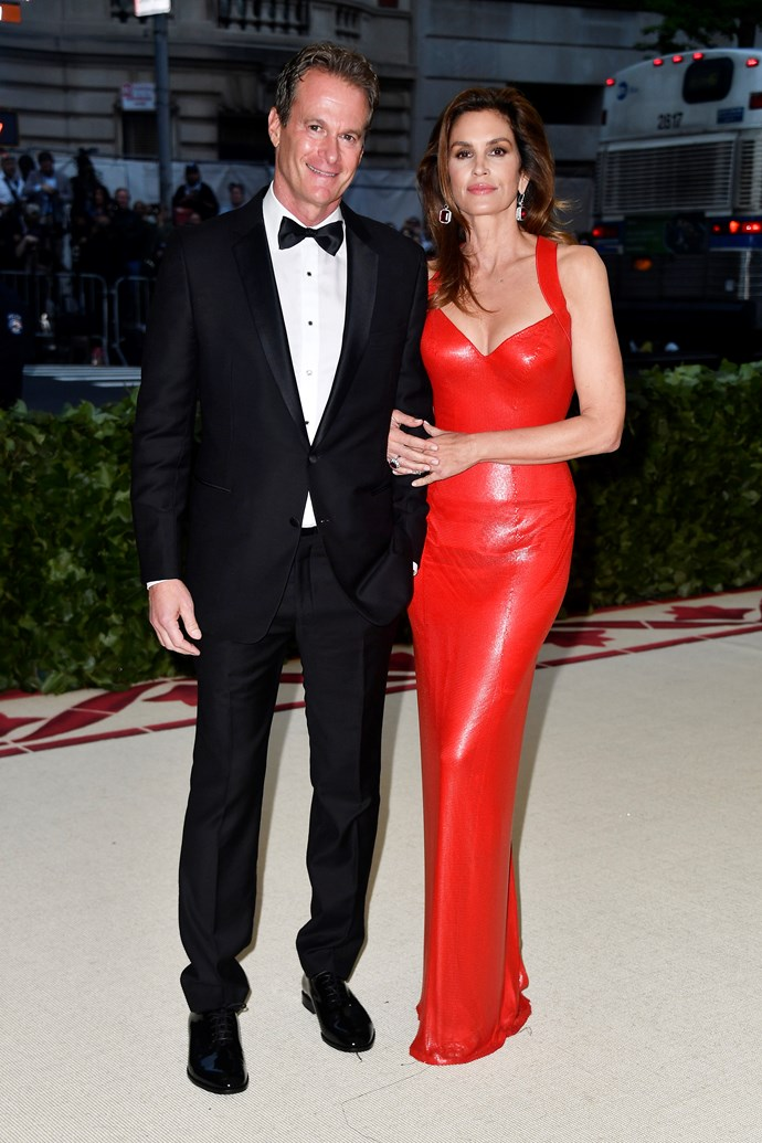 Rande Gerber and Cindy Crawford in Versace