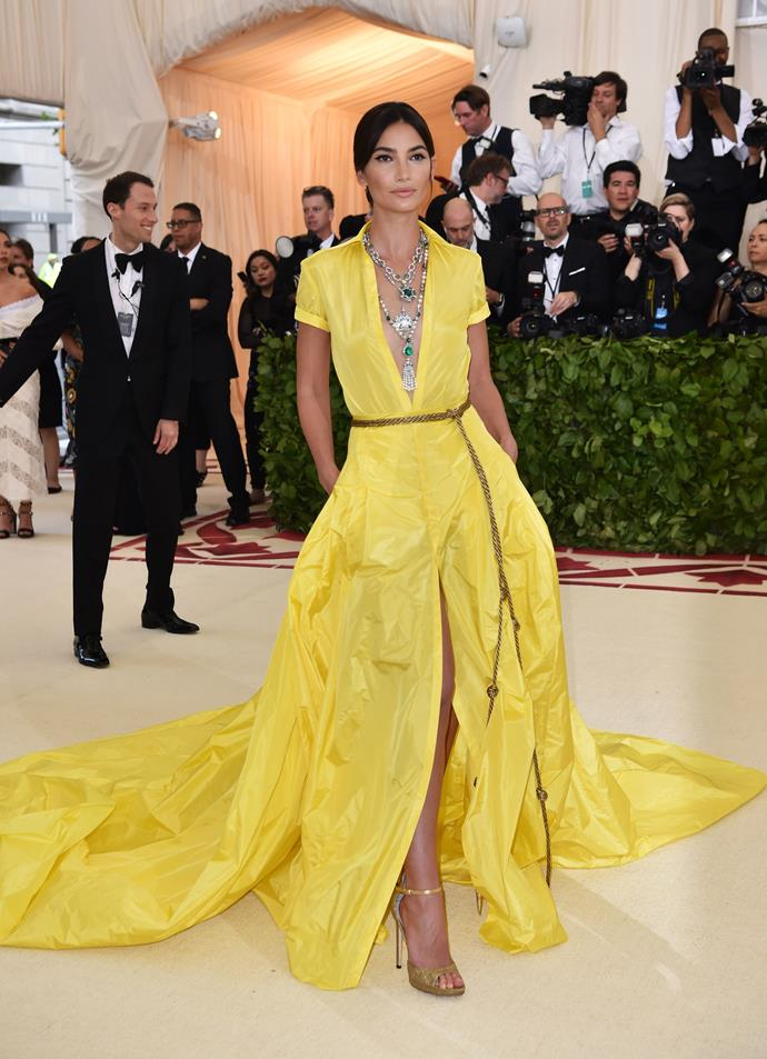 Lily Aldridge in Ralph Lauren Collection and Bulgari jewels