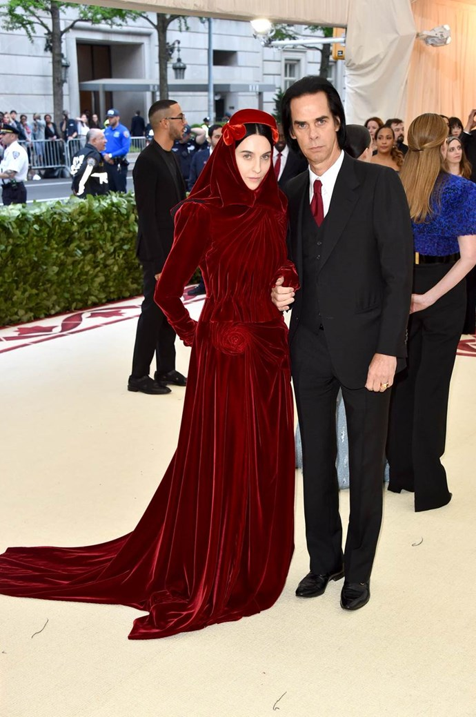 """**Susie Cave in Gucci and Nick Cave**<br><br>  """"She looks phenomenal. I love everything about this look."""" - Aubree Smith, market editor"""