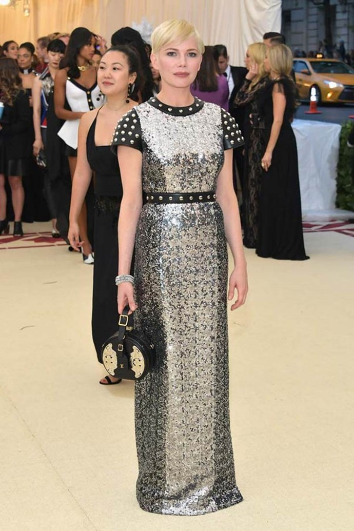 """**Michelle Williams in Louis Vuitton**<br><br>  """"Michelle Williams in Louis Vuitton would have been a perfect spokesperson for medieval infantry in her Joan of Arc chic."""" - Christopher Xi, fashion and beauty assistant"""