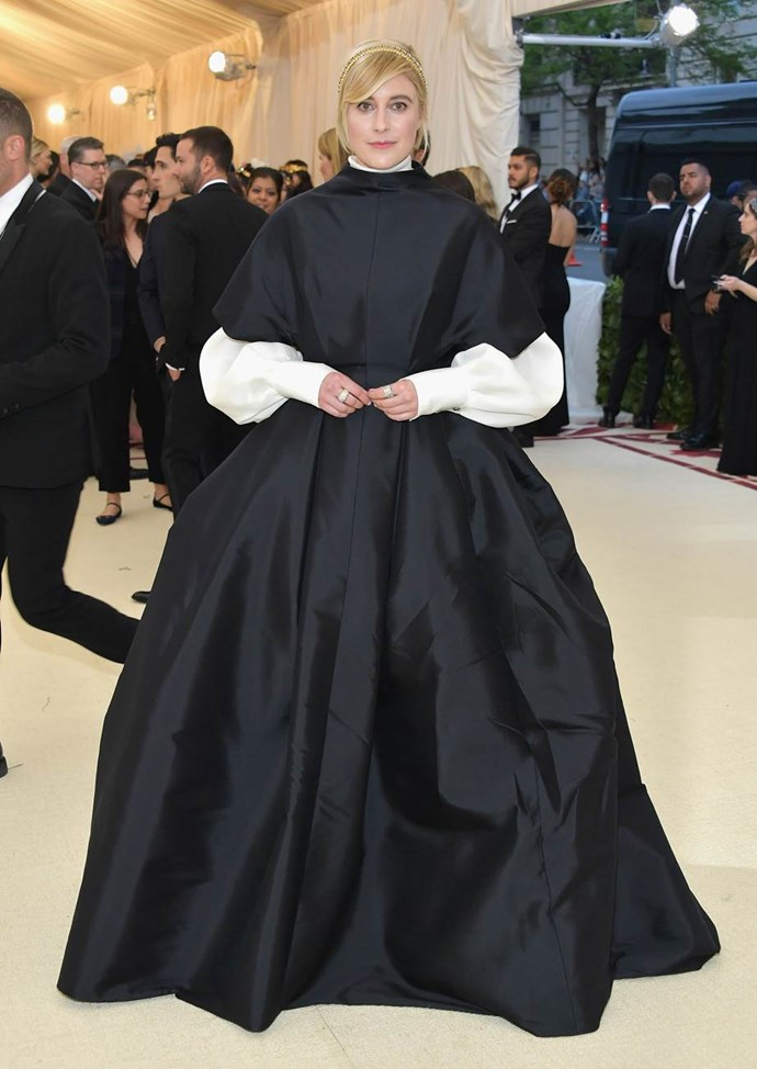 """**Greta Gerwig in The Row** <br><br>  """"This is a textbook example of how to nod to a theme without heading into theatrical costume territory."""" - Clare Maclean, fashion features director<br><br>  """"This is very chic and monastic. Good nod to the theme."""" - Caroline Tran, junior fashion editor"""