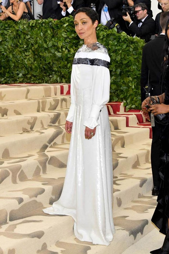 """**Ruth Negga in Louis Vuitton**<br><br>  """"Ruth Negga looks heavenly in her Louis Vuitton dress. I also love how the sequins reflect light into her face."""" - Caroline Tran, junior fashion editor"""