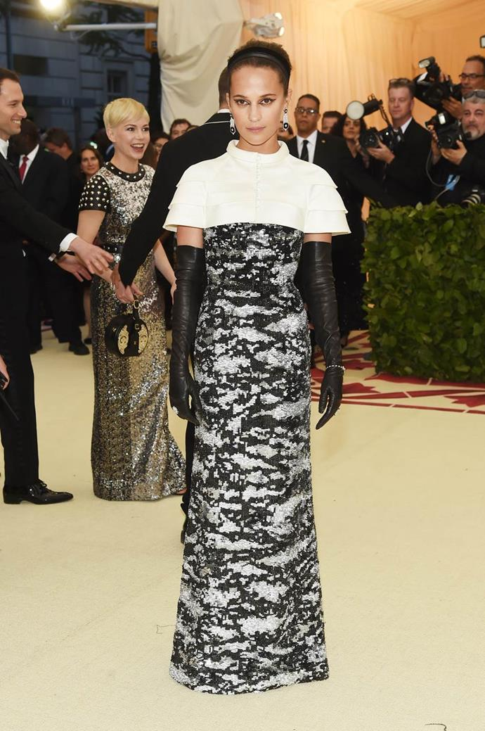 "**Alicia Vikander in Louis Vuitton** <br><br> ""Hair and makeup is excellent."" - Caroline Tran, junior fashion editor"