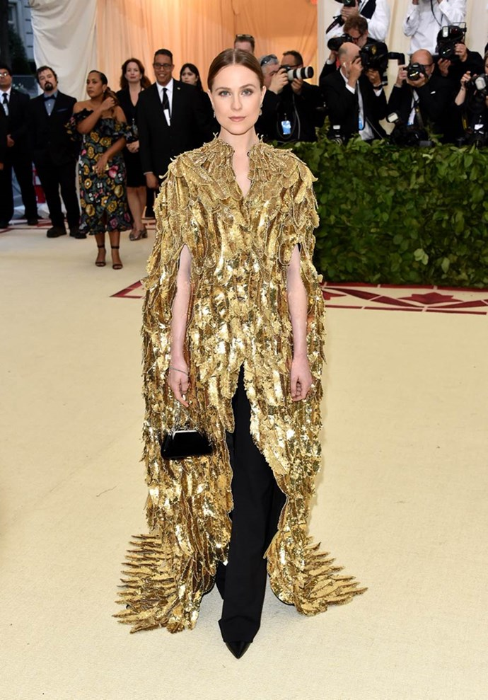 """**Evan Rachel Wood in Altuzarra**<br><br>  """"This look teeters very close to 'too much' but I think ERW pulls it off. The layering of the embellished cape with the wide-leg trousers feels very Olsen Twins (in a good way), and the minimal hair and make-up keeps the whole thing balanced. Love."""" - Grace O'Neill, digital fashion editor"""