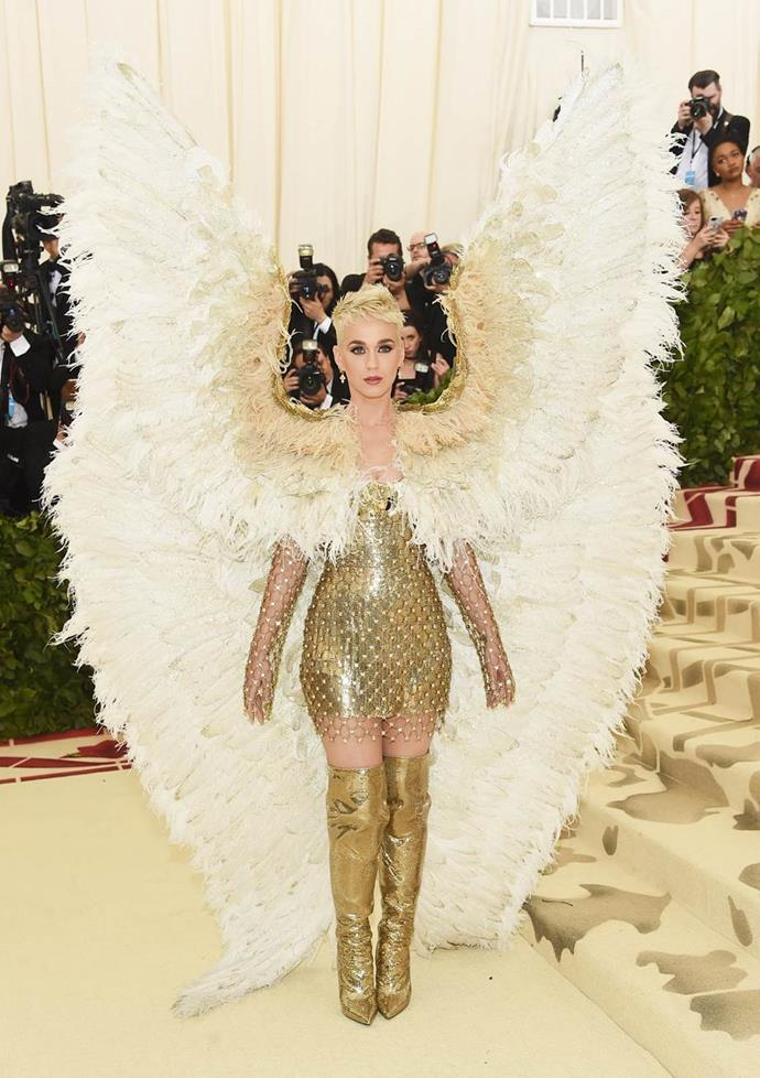 "**Katy Perry in Versace**<br><br>  ""I am unsure. Those wings are too dramatic."" - Caroline Tran, junior fashion editor<br><br>  ""I really appreciate the effort Katy Perry goes to at the Met Gala (take note models!), but even by Katy Perry standards... this may be 'too much'."" - Grace O'Neil, digital fashion editor"