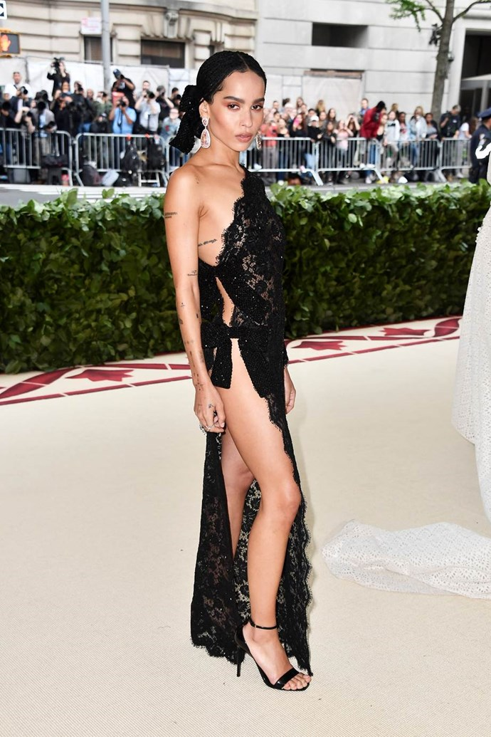 """**Zoë Kravitz in Saint Laurent**<br><br>  """"Literal heavenly body. She looks incredible in this lace Saint Laurent dress. Love the hair and makeup as well."""" - Caroline Tran, junior fashion editor"""
