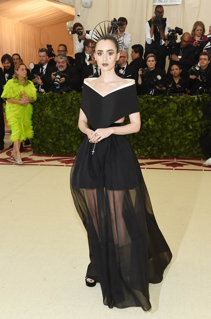 """**Lily Collins in Givenchy** <br><br>  """"Great makeup."""" - Caroline Tran, junior fashion editor"""