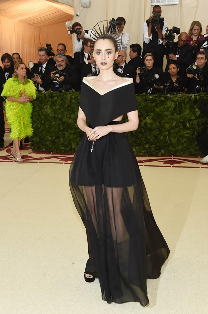 "**Lily Collins in Givenchy** <br><br>  ""Great makeup."" - Caroline Tran, junior fashion editor"