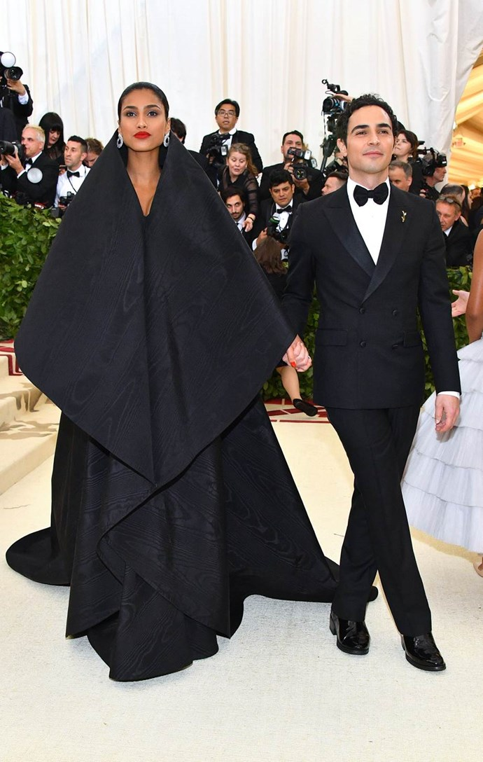 """**Iman Hammam in Zac Posen**<br><br>  """"A triumphant return to form from Zac Posen—and further proof Iman Hammam is destined to be the next big super."""" - Grace O'Neill, digital fashion editor"""