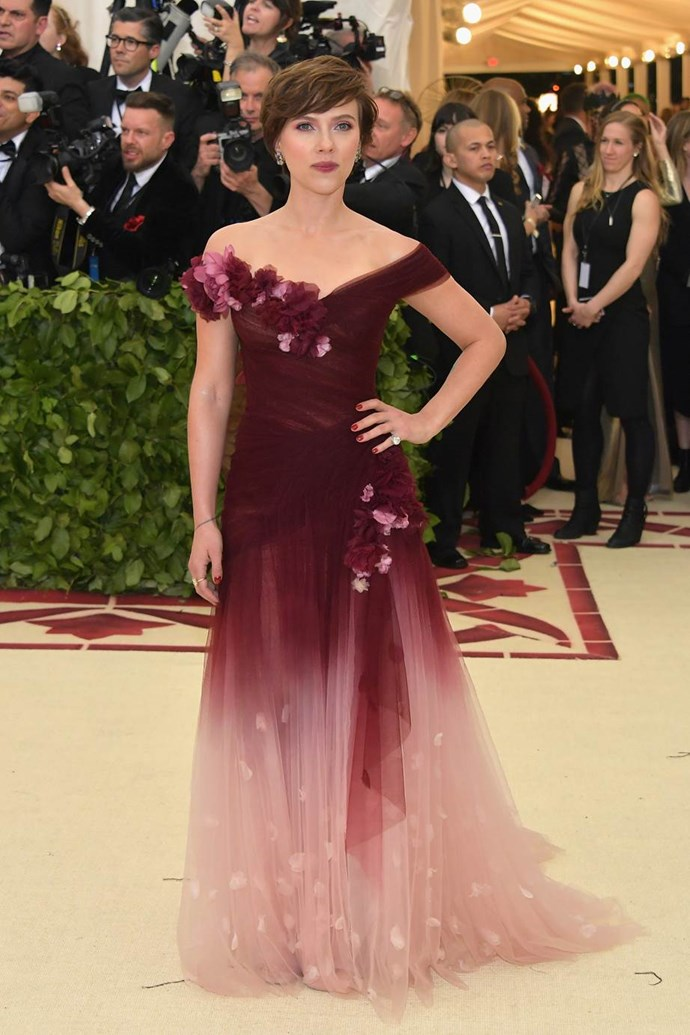 """**Scarlett Johansson in Marchesa**<br><br>  """"I love Scar-Jo but this dress and haircut prematurely age her. Bring back the form-fitting Dolce & Gabbana of 2012!"""" - Grace O'Neill, digital fashion editor"""