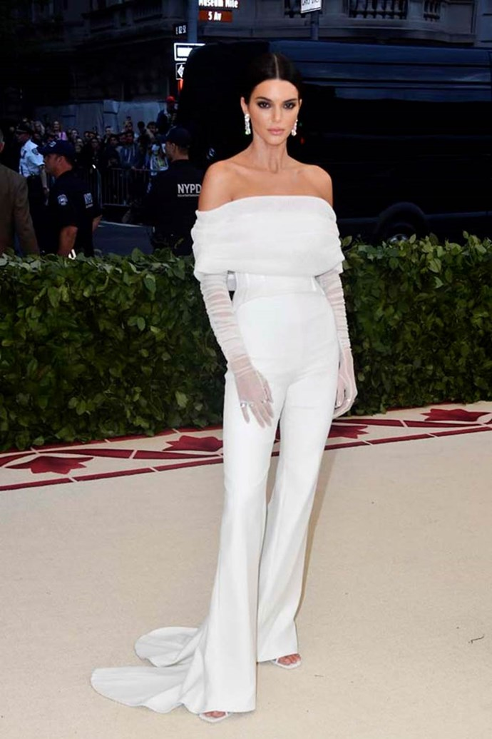 """**Kendall Jenner in Off-White**<br><br>  """"There's no denying Kendall Jenner looks chic in this Off-White c/o Virgil Abloh ensemble, but I'm disappointed she didn't even attempt to stay on-theme."""" - Grace O'Neill, digital fashion editor"""