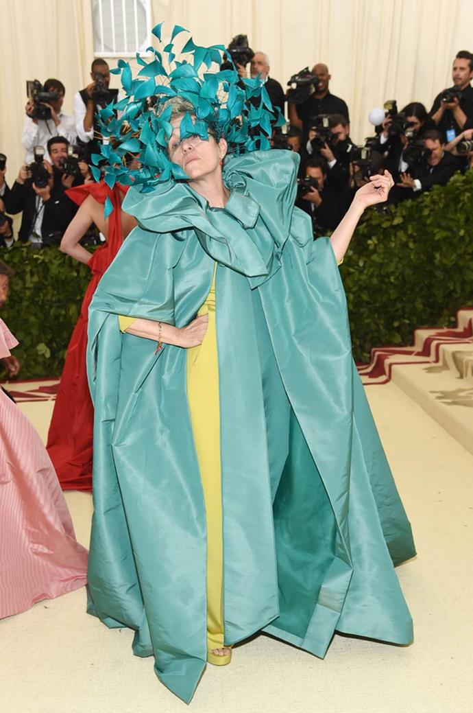 "**Frances McDormand in Valentino**<br><br>  ""I love everything about this."" - Caroline Tran, junior fashion editor<br><br>  ""If anyone can do oversized Valentino Couture with an all-over matching headpiece it's Frances McDormand. This look is going to haunt my dreams, in the best way."" - Mahalia Chang, digital features editor <br><br> ""One word: Mom. Also, stop what you're doing right now and [watch this](https://www.instagram.com/p/BigA1L7Buga/?taken-by=voguemagazine