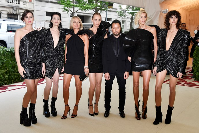 """**Charlotte Casiraghi, Charlotte Gainsbourg, Kate Moss, Amber Valletta, Anja Rubik and Mica Arganaraz, all in Saint Laurent by Anthony Vaccarello** <br><br> """"Although I would die for each of these women, there is nothing on-theme about their parade of LBDs. Amber Valletta, Kate Moss, Anja Rubik and Jamie Bochert... they were all so boring! At least throw on a crucifix!"""" - Mahalia Chang, digital features editor"""