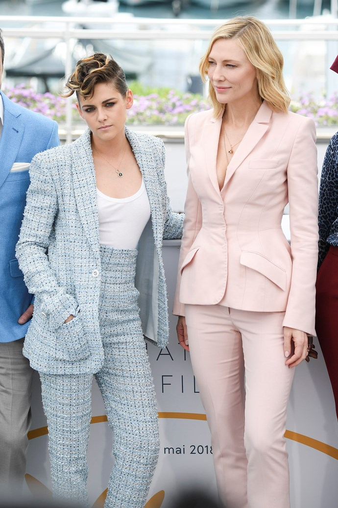 **Kristen Stewart in Chanel and Cate Blanchett in Stella McCartney at the photocall for '*Jury*'**