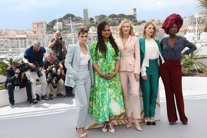 **Kristen Stewart, Ava DuVernay, Cate Blanchett, Léa Seydoux and Khadja Nin at the photocall for '*Jury*'**