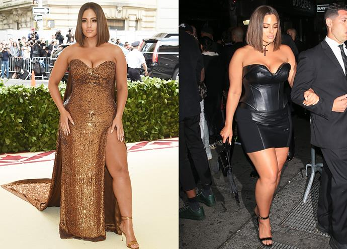 Ashley Graham in at the Met Gala in Prabal Gurung and at the Met Gala After Party.