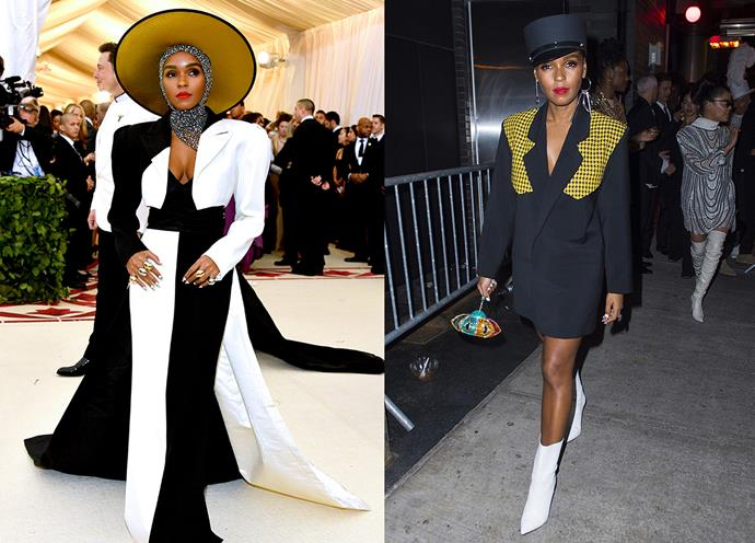 Janelle Monae in at the Met Gala in custom Marc Jacobs and at the Met Gala After Party.