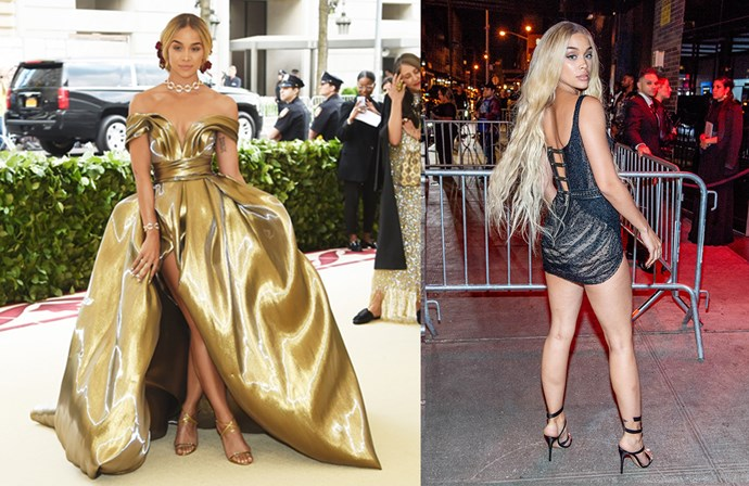 Jasmine Sanders in at the Met Gala in H&M and at the Met Gala After Party.