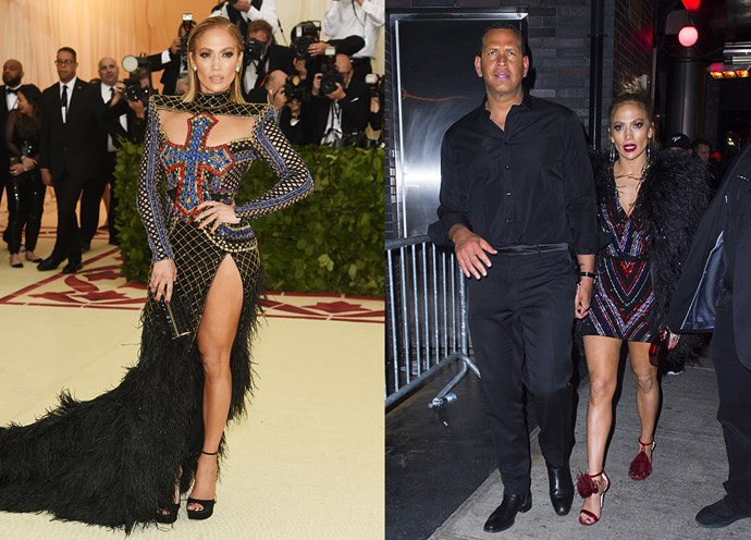 Jennifer Lopez in at the Met Gala in Balmain and at the Met Gala After Party.