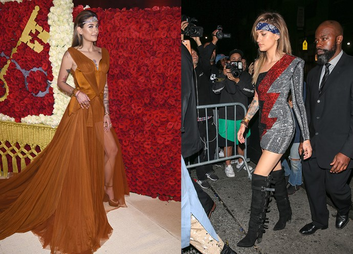 Paris Jackson at the Met Gala in Stella McCartney and at the Met Gala After Party.