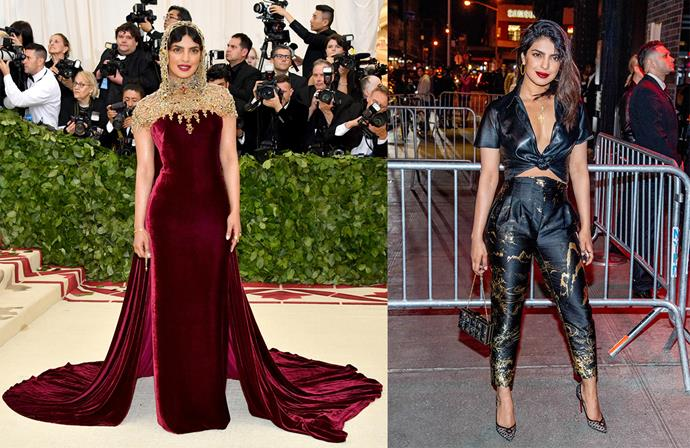 Priyanka Chopra at the Met Gala in Ralph Lauren Collection and at the Met Gala After Party.