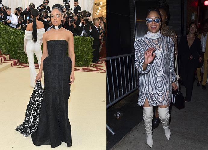 Tessa Thompson at the Met Gala and at the Met Gala After Party.