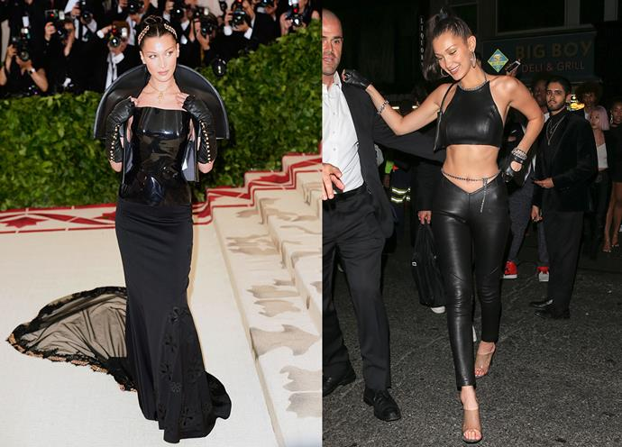 Bella Hadid at the Met Gala in Gareth Pugh x Chrome Hearts and at the Met Gala After Party.
