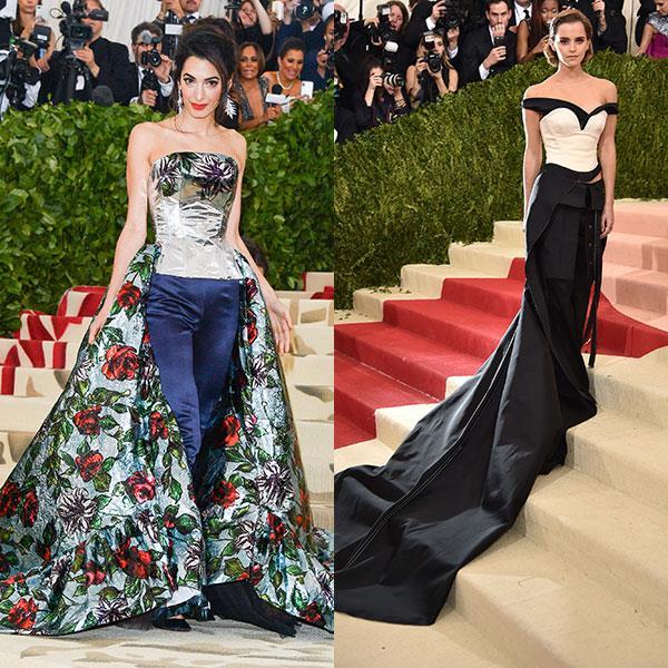 2018: Amal Clooney in Richard Quinn<br> 2016: Emma Watson in Calvin Klein Collection