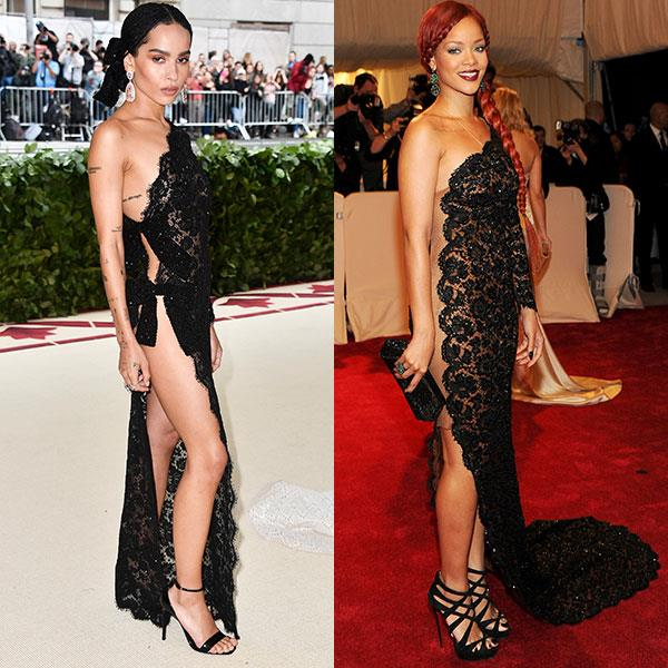 2018: Zoë Kravitz in Saint Laurent<br> 2011: Rihanna in Stella McCartney