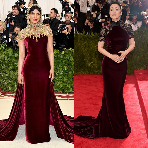 2018: Priyanka Chopra in Ralph Lauren Collection<br> 2015: Gong Li in Roberto Cavalli