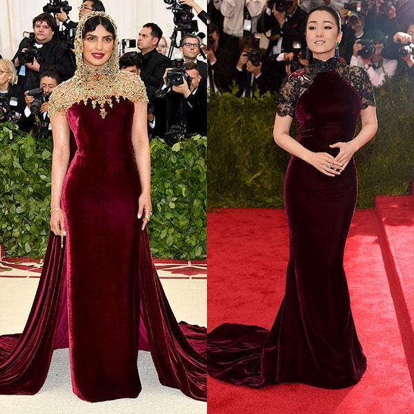 2018: Priyanka Chopra in Ralph Lauren Collection<br> 2015: Gong Li in Roberto Cavalli