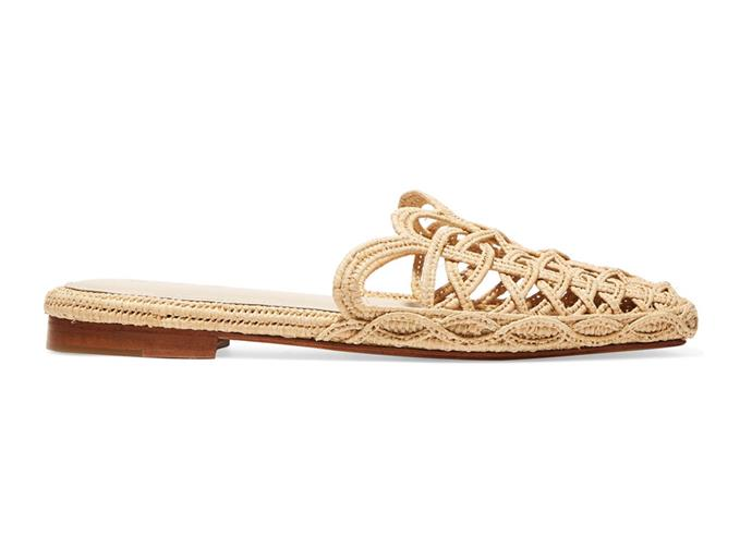 "These raffia slip-ons will become a summer staple. We love the scallop detailing.  <br><br> [Zyne slippers](https://www.net-a-porter.com/au/en/product/1052176/zyne/raffy-iv-woven-raffia-slippers|target=""_blank""