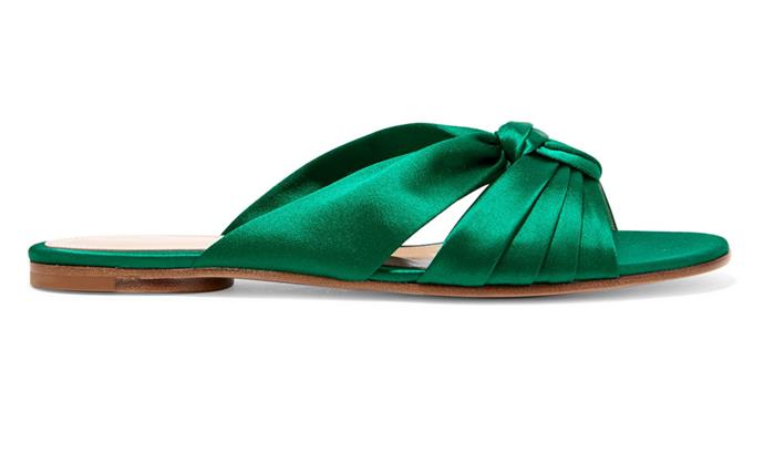 "Satin emerald slides add an evening edge come cocktail hour. <br><br>[Gianvito Rossi slides](https://www.net-a-porter.com/au/en/product/992544/gianvito_rossi/satin-slides|target=""_blank""