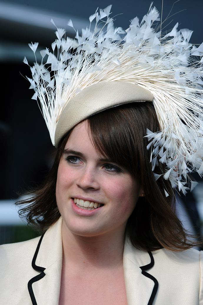 **PRINCESS EUGENIE AT THE ROYAL ASCOT: 2008** <br><br> Eugenie rivalled her younger sister's eclectic hat collection with this feathered headpiece at the Royal Ascot in 2008.