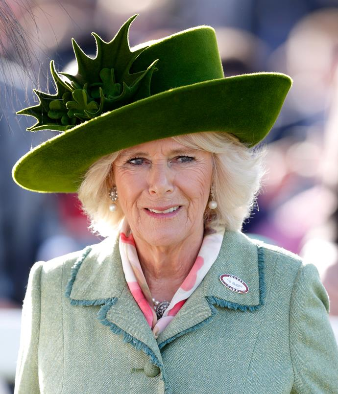 **CAMILLA, DUCHESS OF CORNWALL: 2017** <br><br> The Duchess of Cornwall's taste in hats can be questionable; namely this felt, faux-moss one adorned with holly.