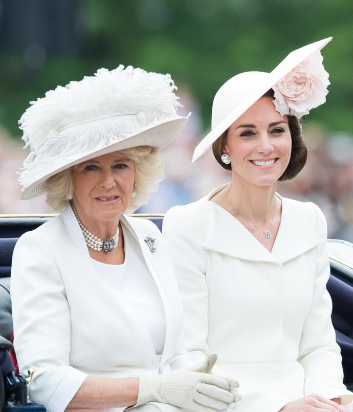 **CAMILLA, DUCHESS OF CORNWALL AND CATHERINE, DUCHESS OF CAMBRIDGE: 2016** <br><br> Nevertheless, Camilla can also take our breath away with her headwear choices—pictured here with Princess Kate in London in 2016.