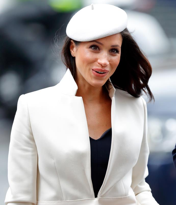 **MEGHAN MARKLE: 2018** <br><br> Since her engagement to Prince Harry, Meghan Markle has significantly upped her hat game; the most memorable being this adorable button-beret she donned in March 2018.