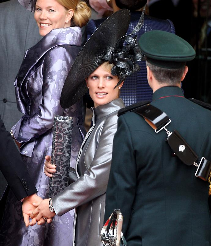 **ZARA PHILLIPS AT THE ROYAL WEDDING: 2011** <br><br> Princess Anne's daughter Zara Phillips attended the wedding of William and Kate in a dazzling Philip Treacy headpiece.